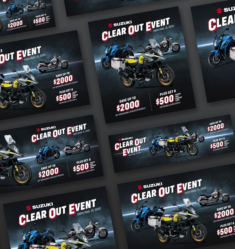 Suzuki Clear Out Event Campaign Mocks