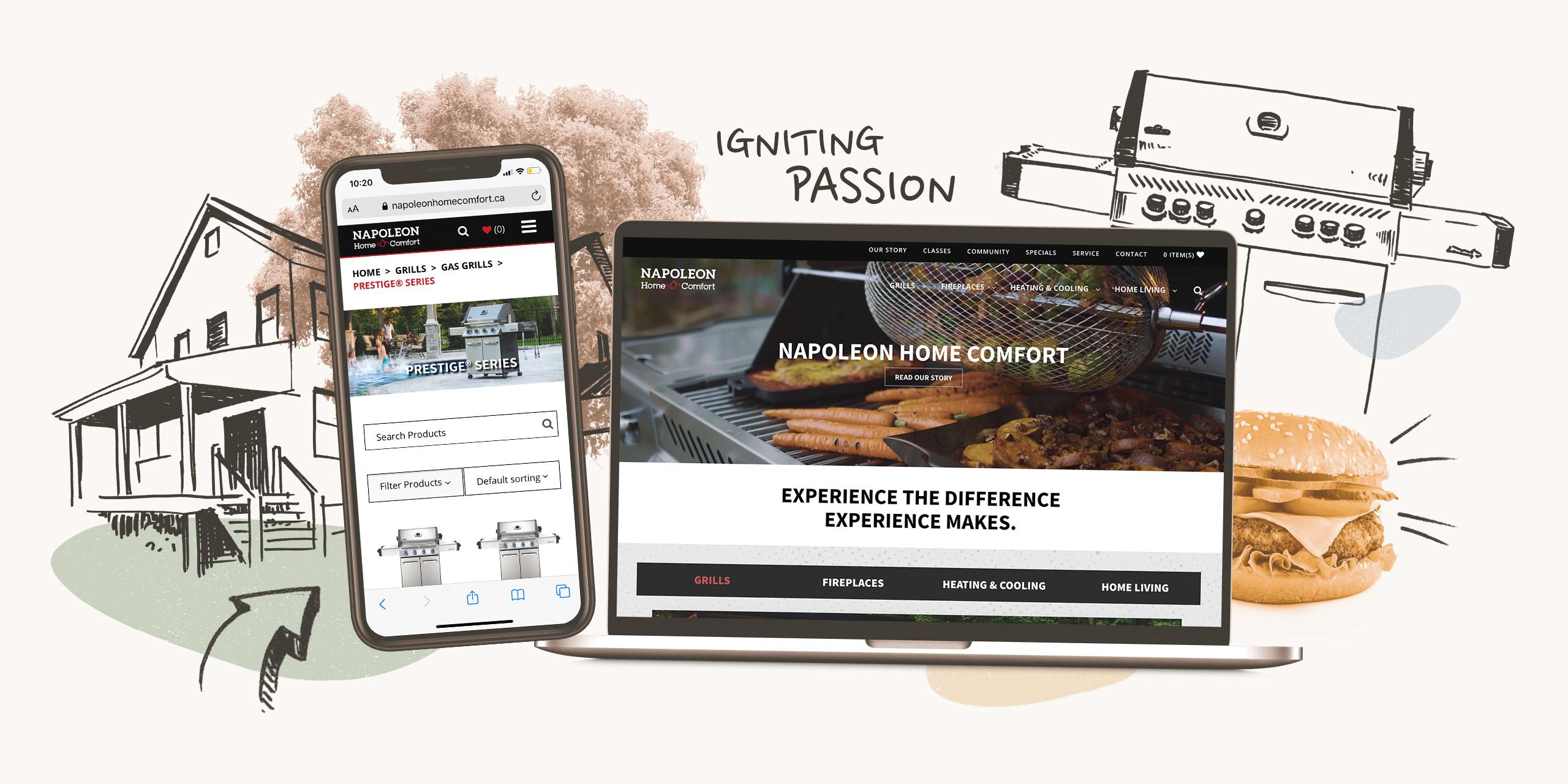 Napoleon Home Comfort Website Case Study Desktop and Mobile Mock