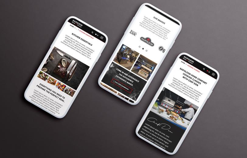 Napoleon Home Comfort Website Mobile Mock